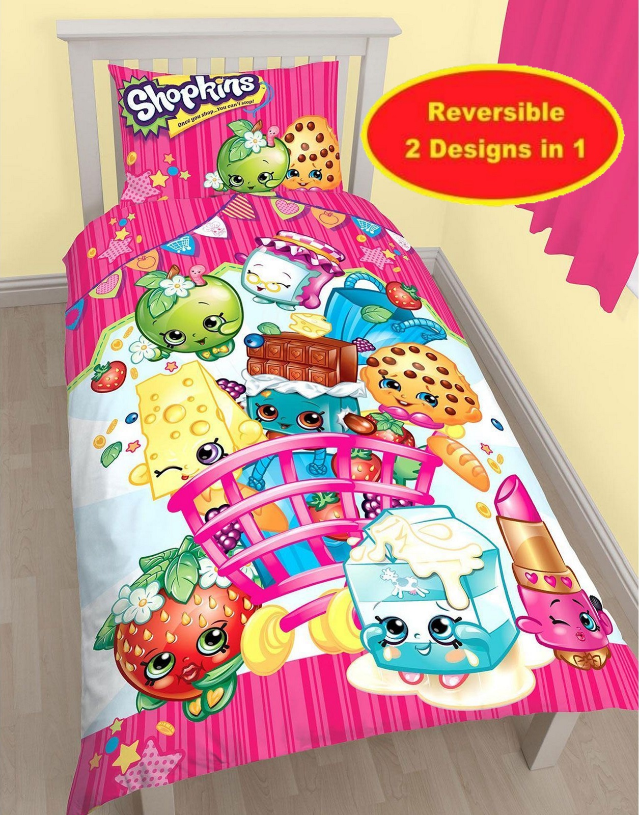 SHOPKINS SHOPAHOLIC SINGLE DUVET QUILT COVER BEDDING SET