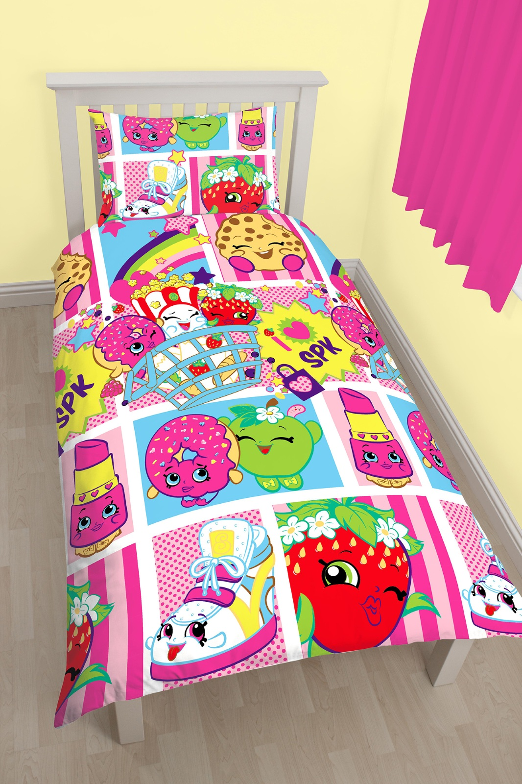 NEW SHOPKINS SHOPAHOLIC SINGLE DUVET QUILT COVER SET GIRLS