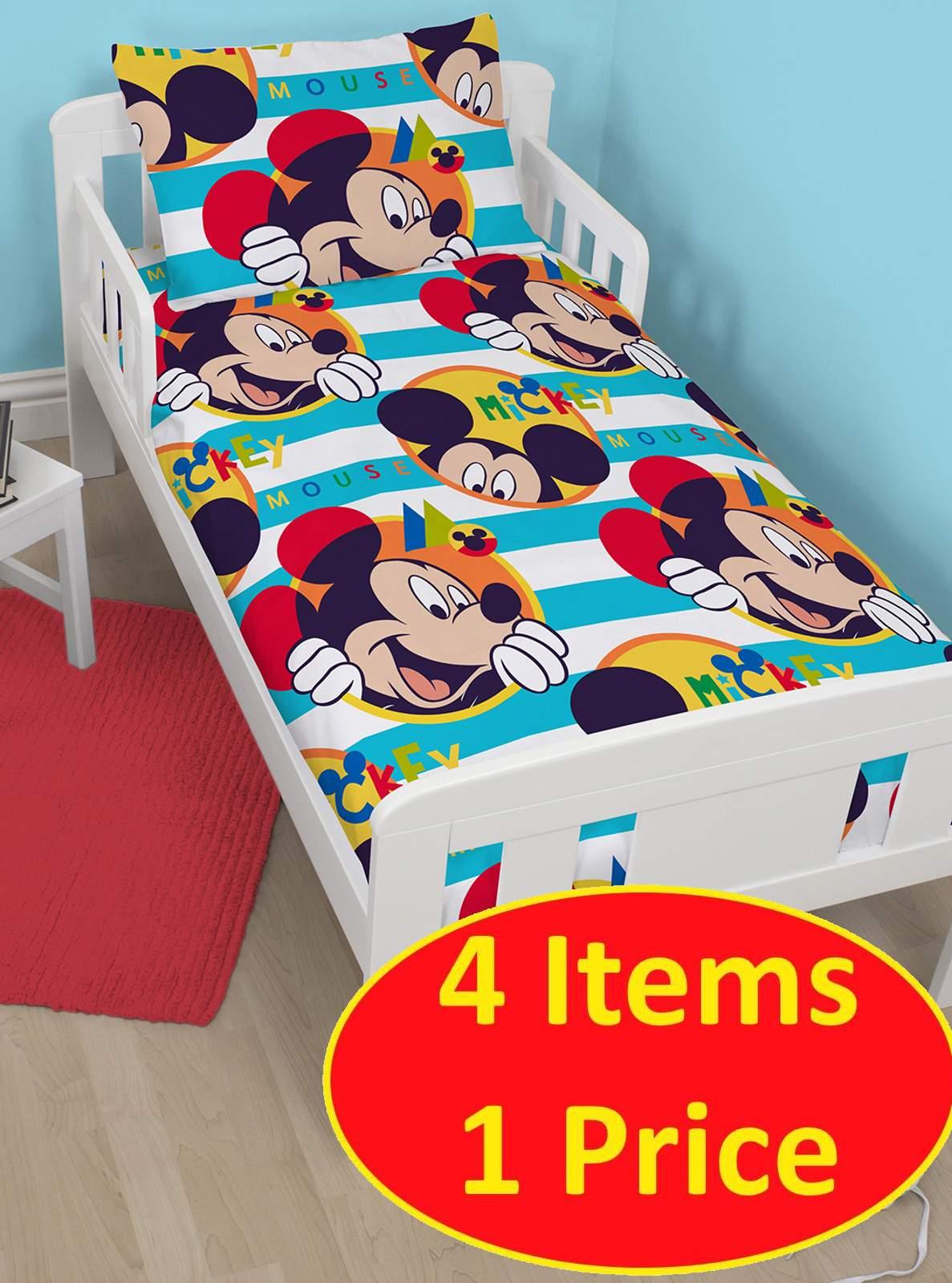 4 in 1 disney mickey mouse boo biancheria da letto junior bundle per culla ebay - Biancheria letto disney ...