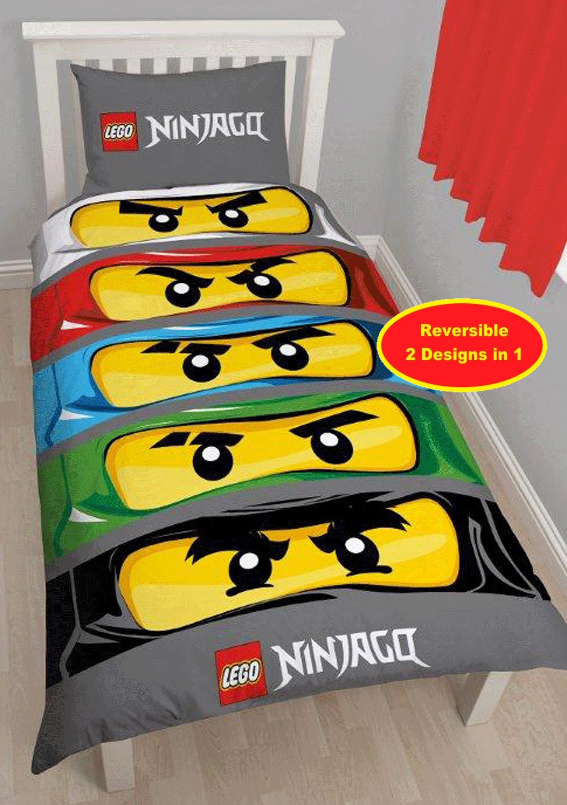 lego ninjago eyes single panel duvet pillowcase bedding set. Black Bedroom Furniture Sets. Home Design Ideas