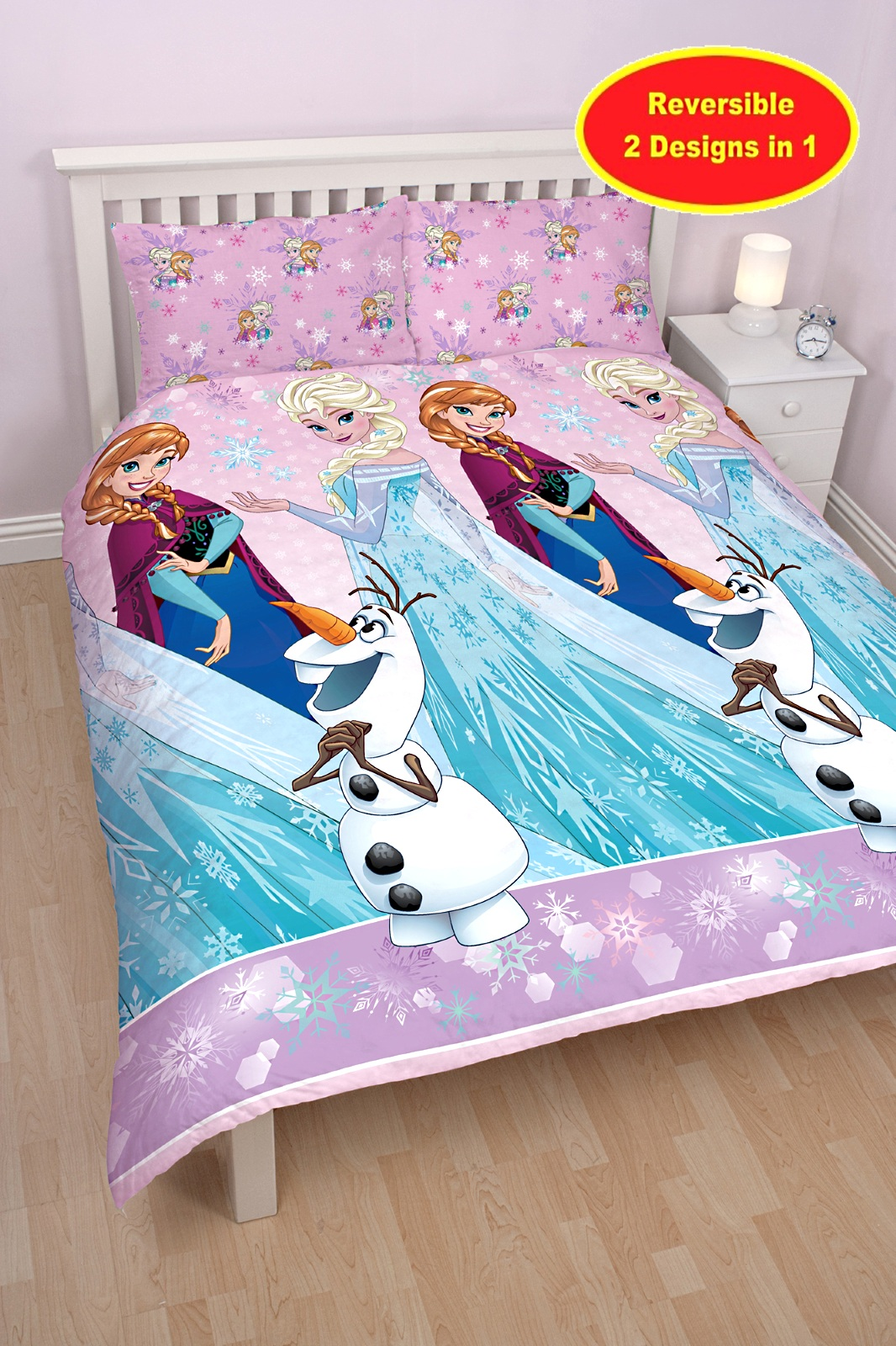 disney frozen magic reversible double duvet quilt cover kids girls bedding set ebay. Black Bedroom Furniture Sets. Home Design Ideas