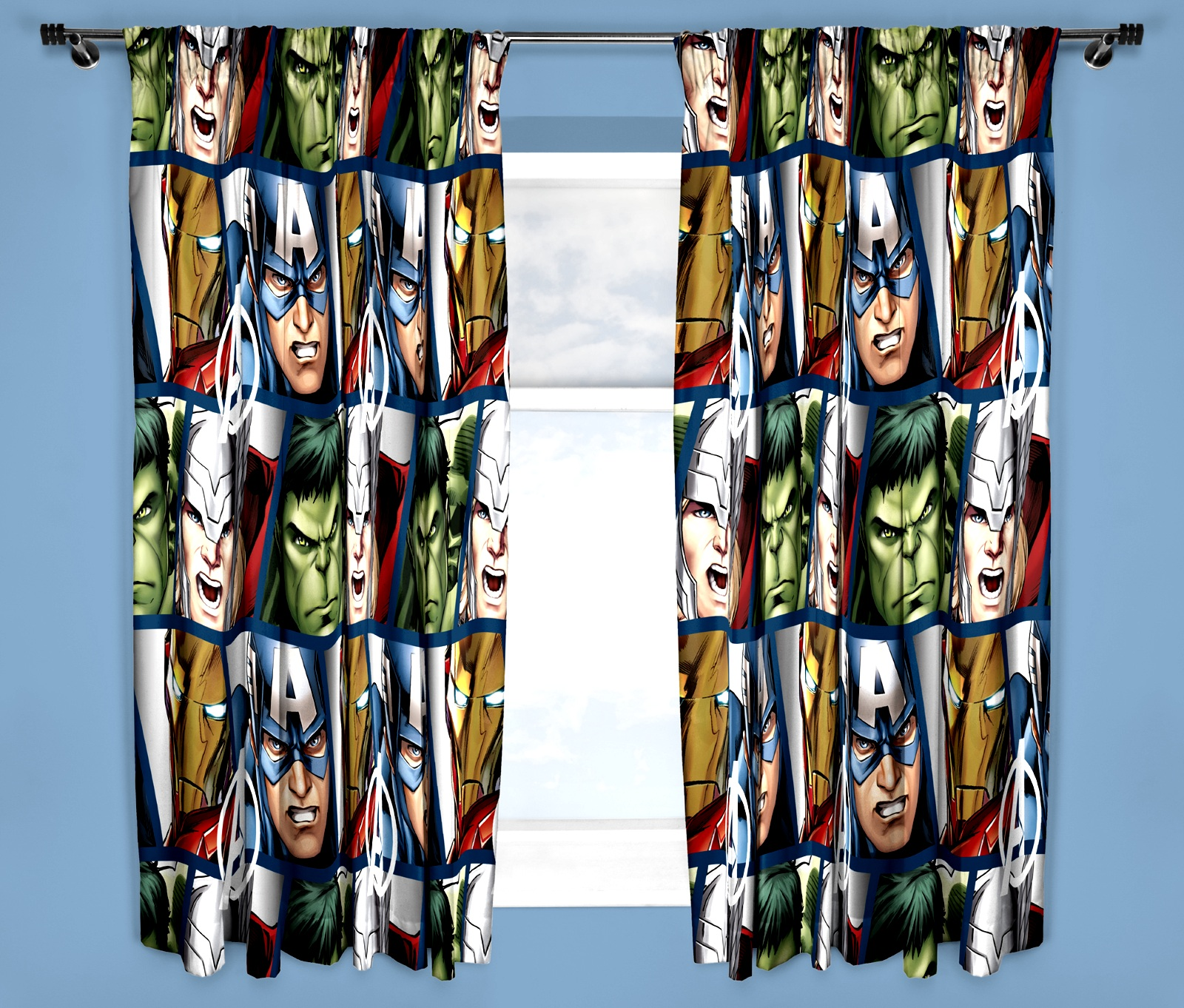 Marvel Avengers Shield Curtains 66 Quot X 54 Quot Inch Hulk Iron