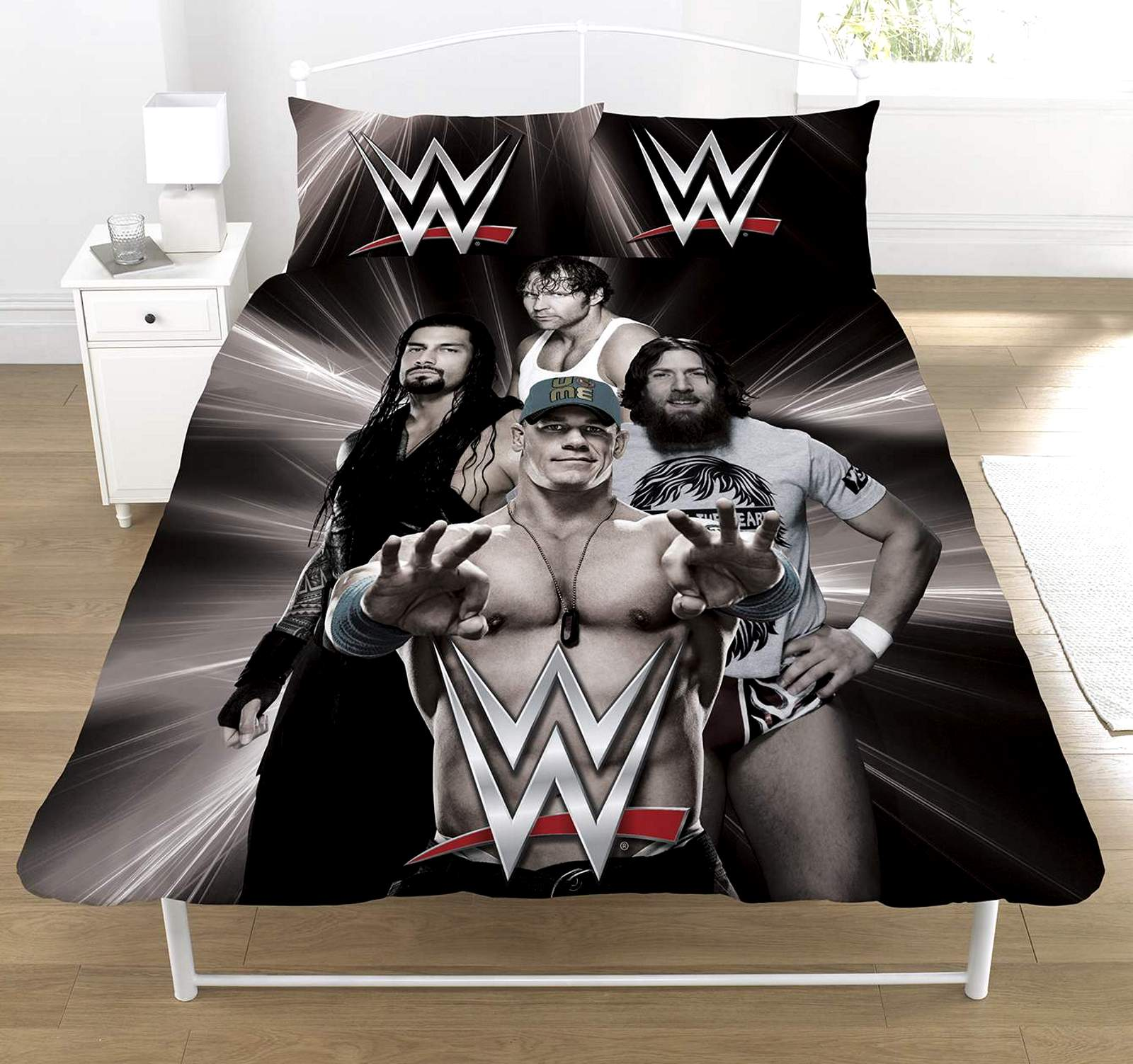 WWE WRESTLING SUPERSTARS BLACK PANEL DOUBLE DUVET QUILT