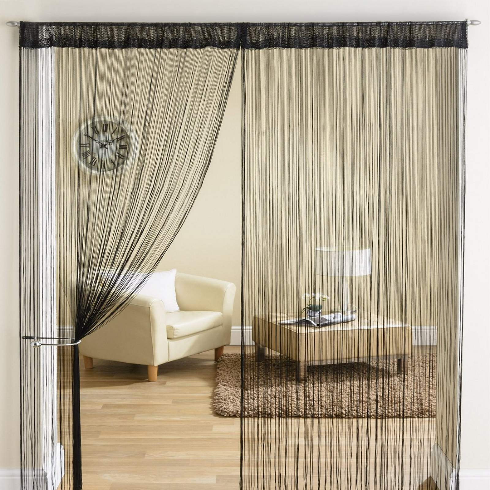 Classic string tassle fringe panel divider window door for Door window curtains