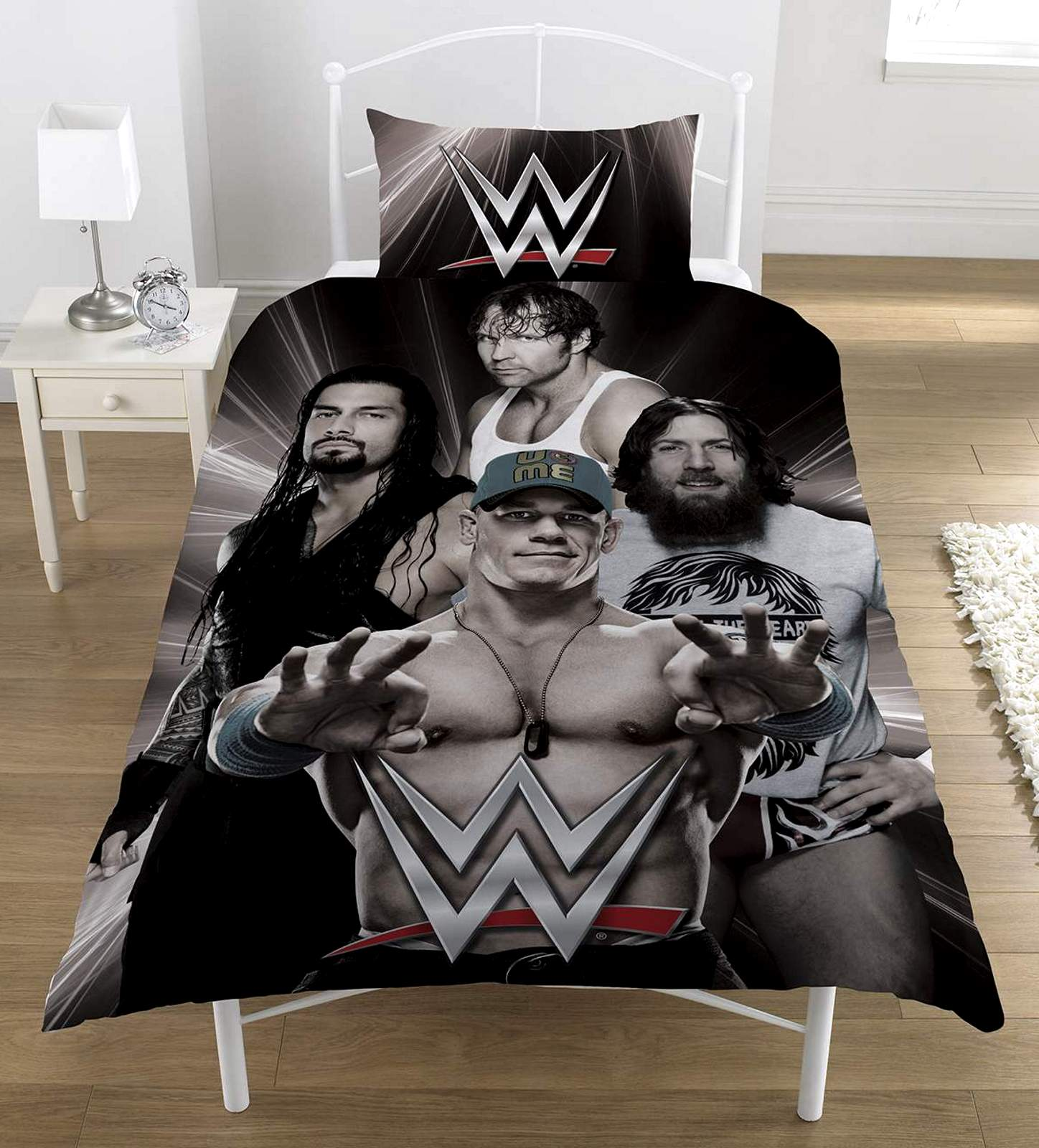 WWE WRESTLING SUPERSTARS BLACK PANEL SINGLE DUVET QUILT