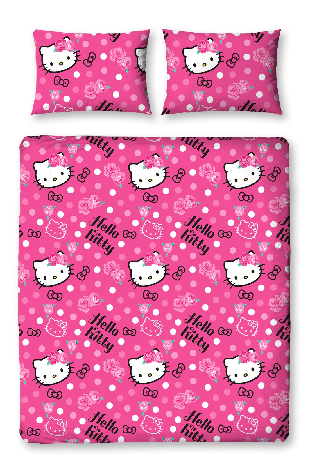 hello kitty sommerwind doppelbett bettbezug kissenbezug kinder bettw sche set ebay. Black Bedroom Furniture Sets. Home Design Ideas