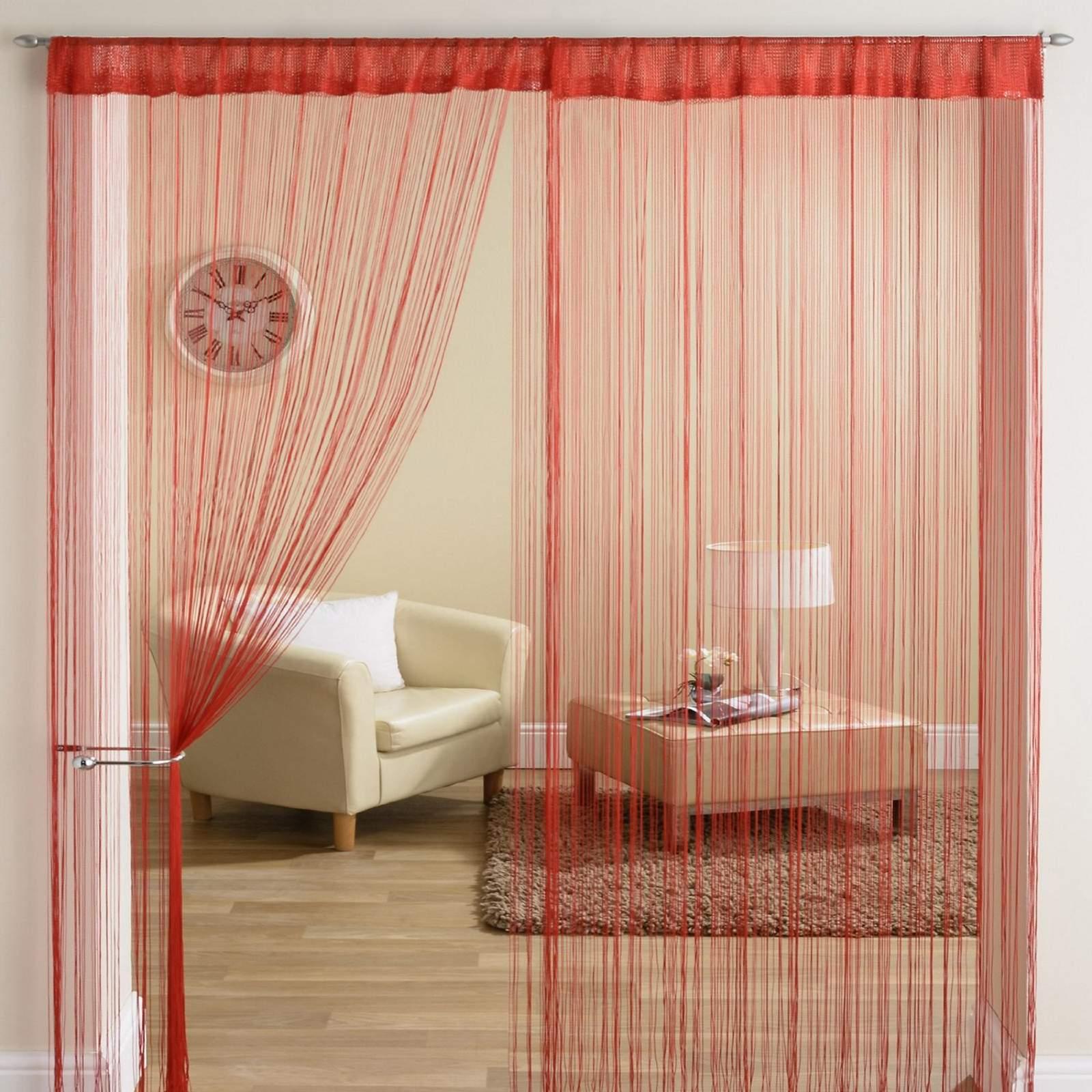 classique fil frange panneau diviseur fen tre rideau de porte 90x200cm rouge ebay. Black Bedroom Furniture Sets. Home Design Ideas