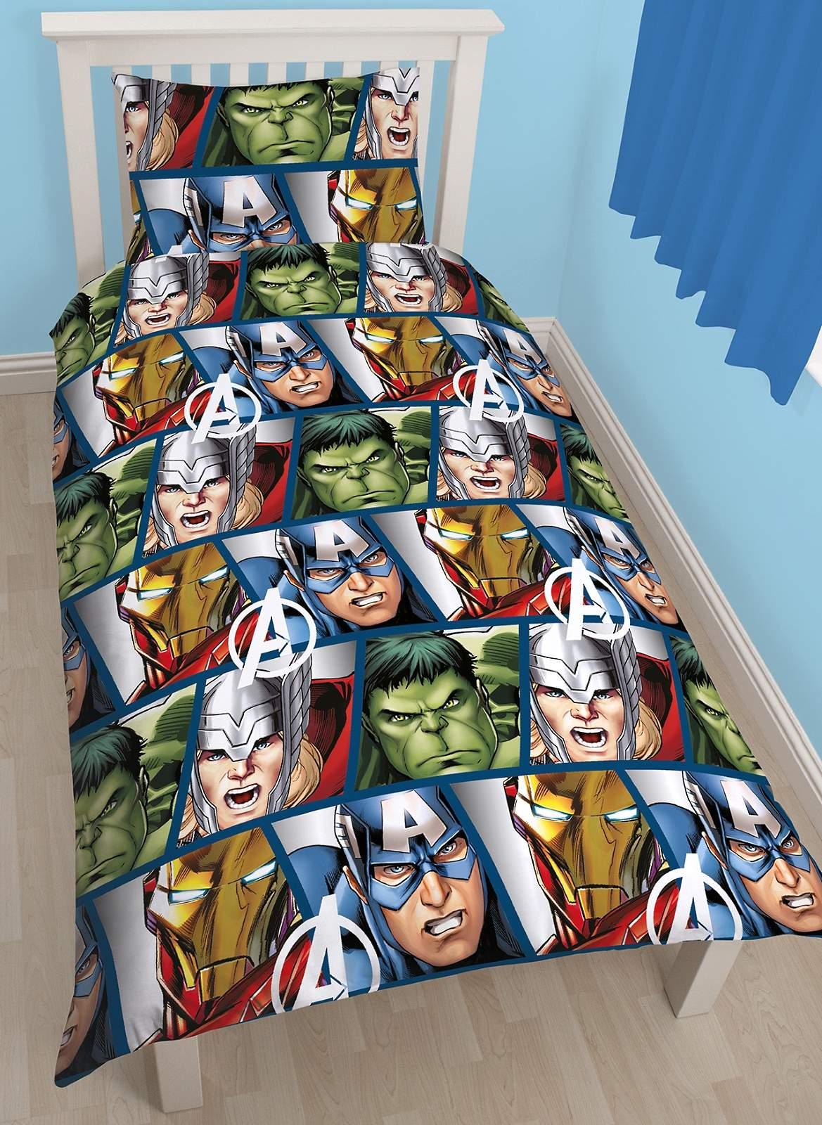 marvel avengers simple ensemble housse de couette gar ons. Black Bedroom Furniture Sets. Home Design Ideas