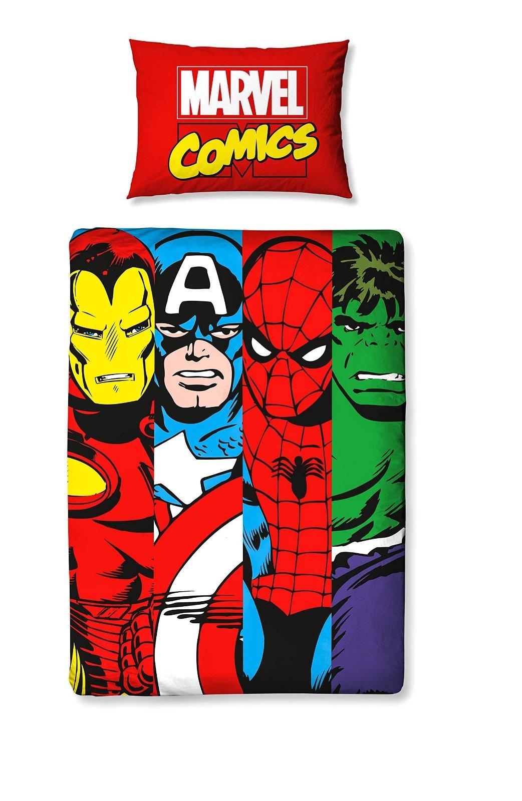 Marvel Avengers Comics Duvet Quilt Cover Bedding Set For
