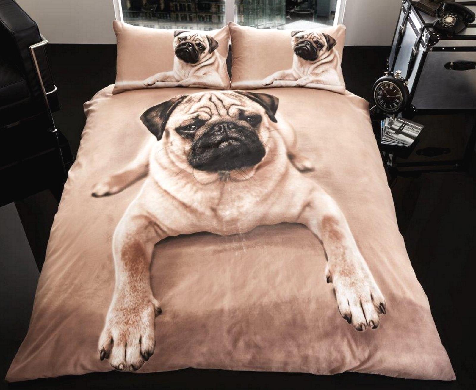 3d Pug Faux Fur Blankets Or Duvet Quilt Cover Set In