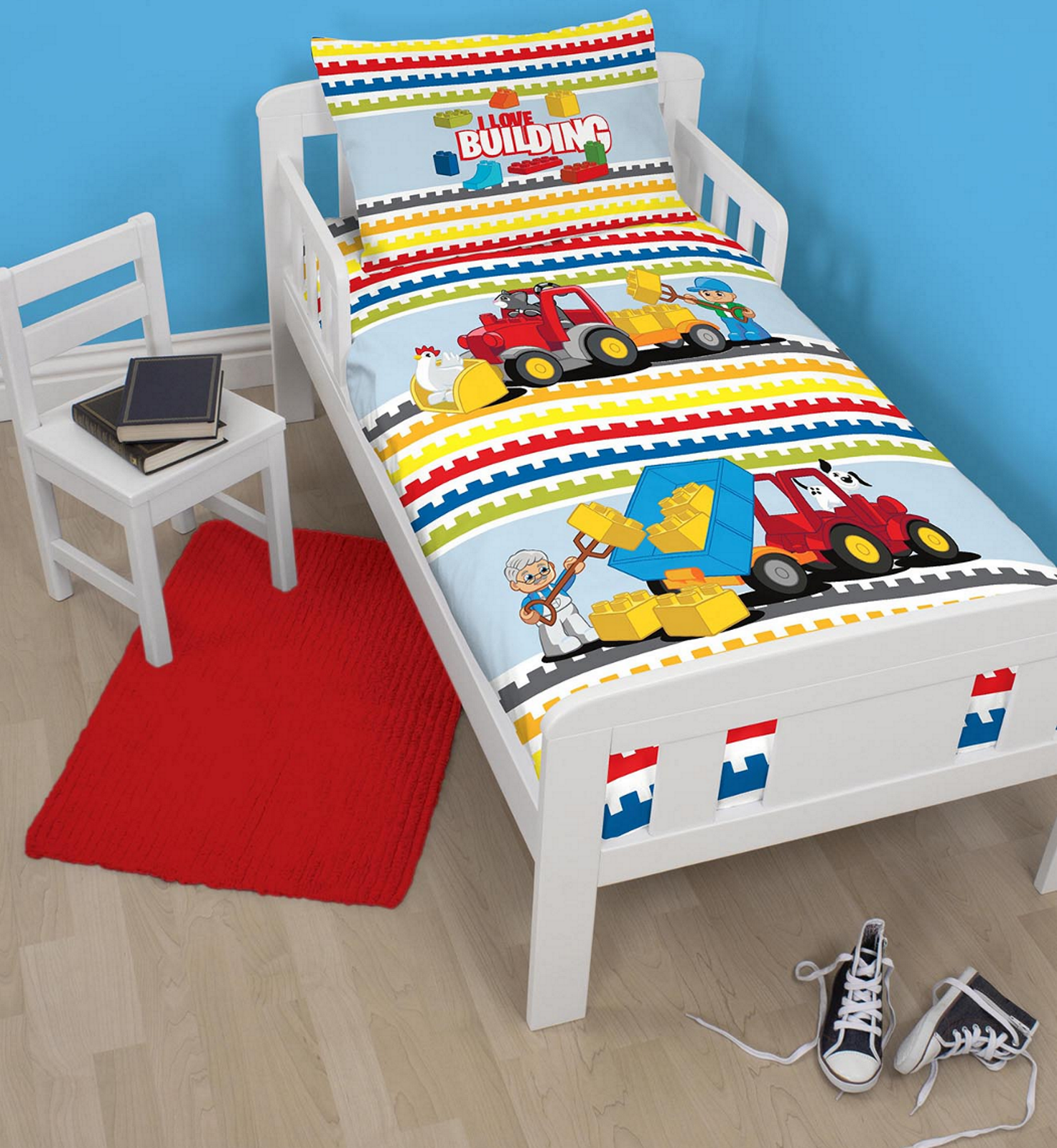 Lego Duplo Blocks Junior Toddler Cot Bed Size Duvet Quilt
