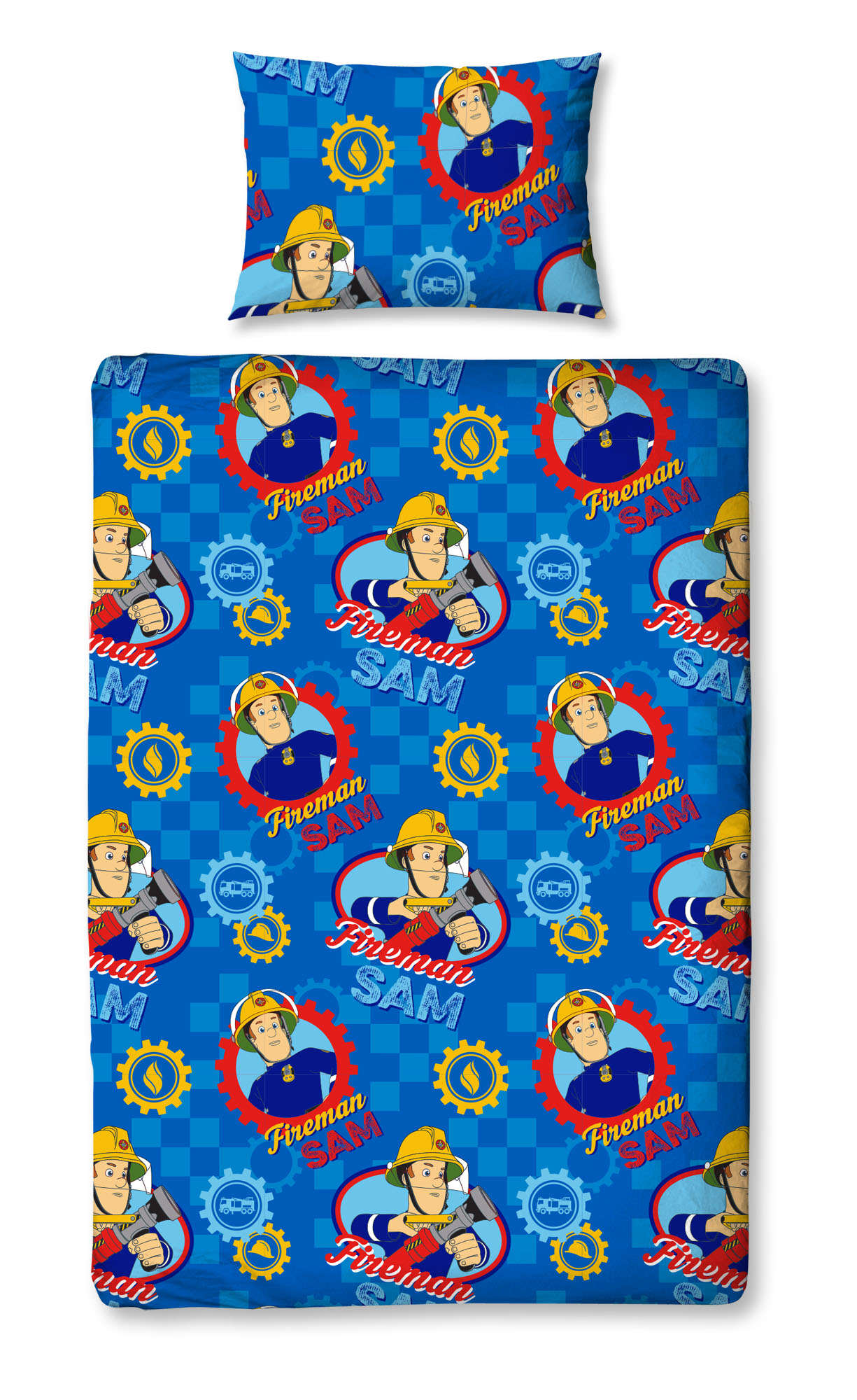 New Fireman Sam Workshop Single Duvet Quilt Cover Set Boys