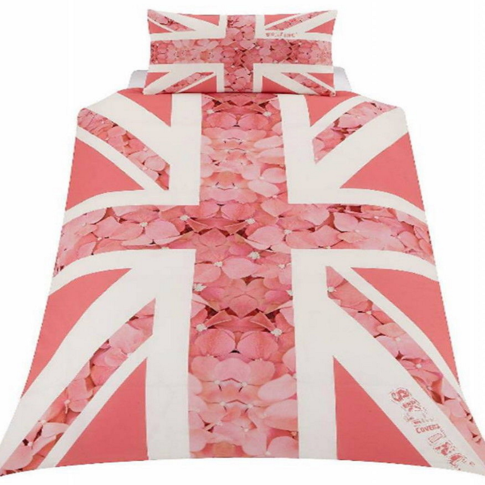 New pink flowers roses union jack duvet quilt cover set for Pink union jack bedding