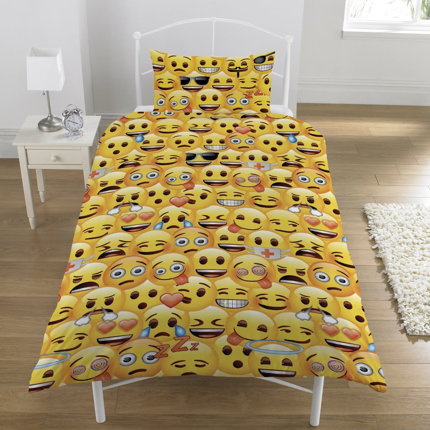 Emoji Single Duvet Quilt Cover Bedding Set Boys Girls Kids