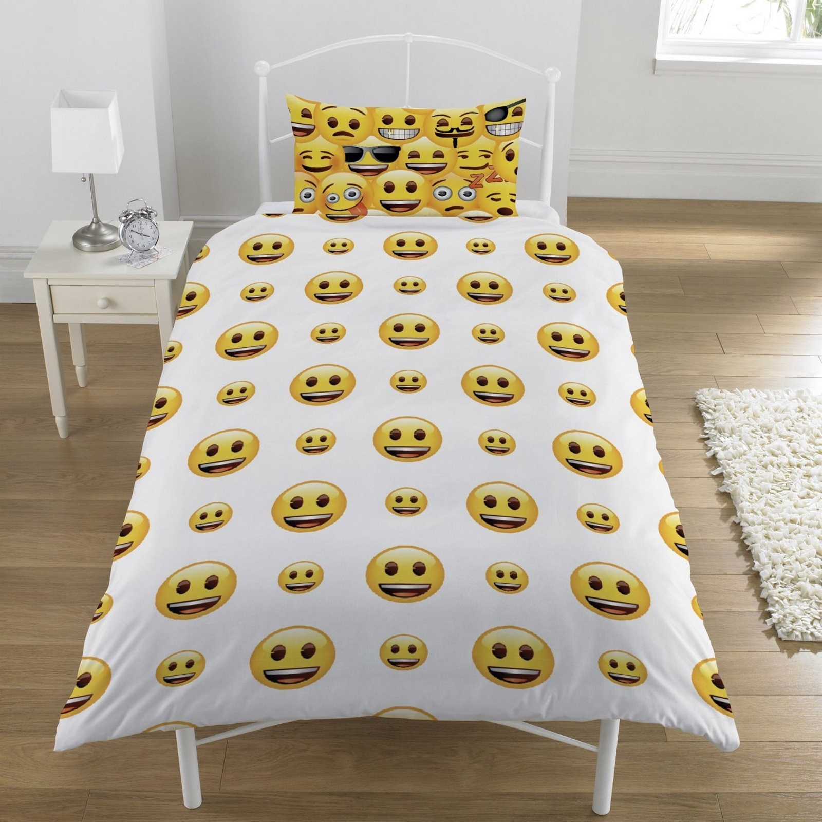 EMOJI SINGLE DUVET QUILT COVER BEDDING SET BOYS GIRLS KIDS ...