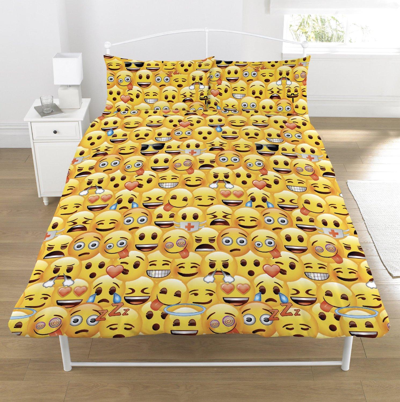 New Emoji Double Duvet Quilt Cover Bedroom Set Boys Girls