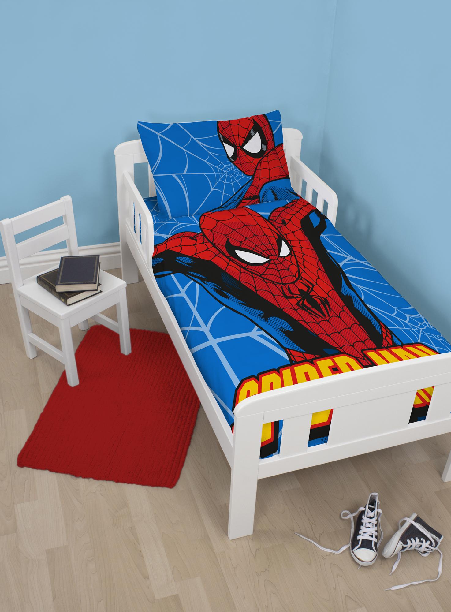 NEW MARVEL SPIDERMAN PARKER JUNIOR TODDLER COT BED BOYS DUVET QUILT COVER S
