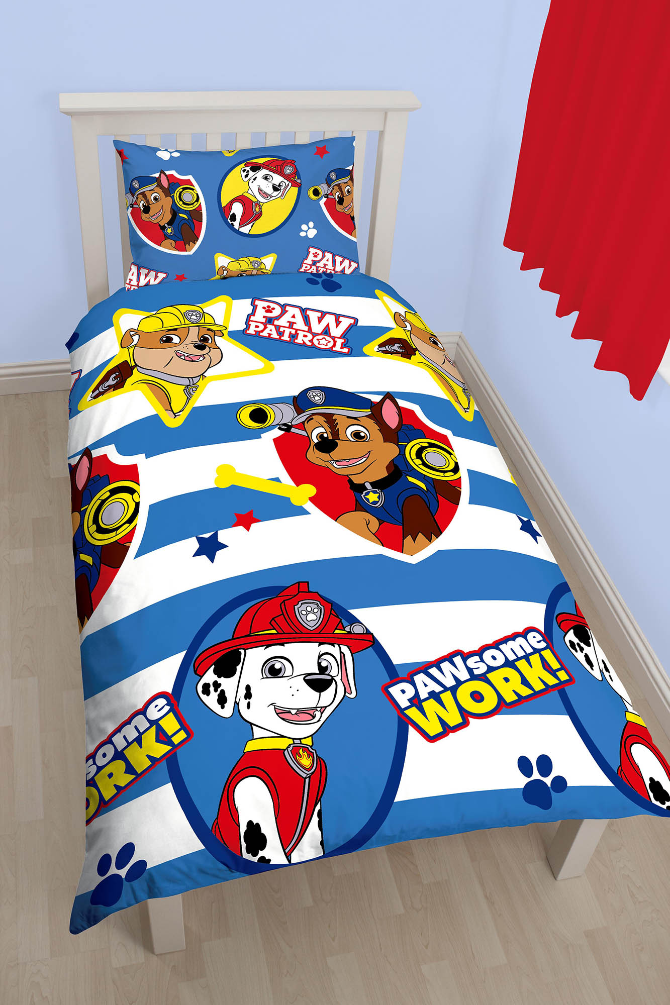 NEW PAW PATROL PAWSOME SINGLE DUVET QUILT COVER BEDDING