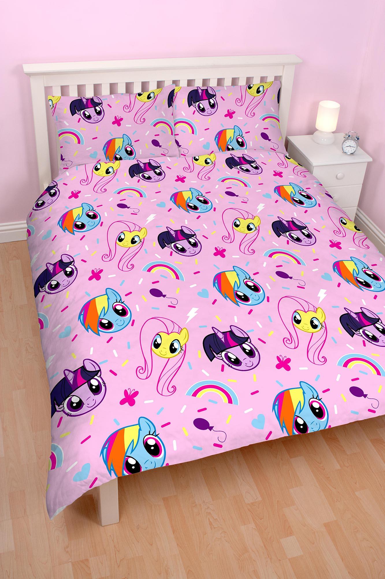 new my little pony equestria double duvet quilt cover set. Black Bedroom Furniture Sets. Home Design Ideas