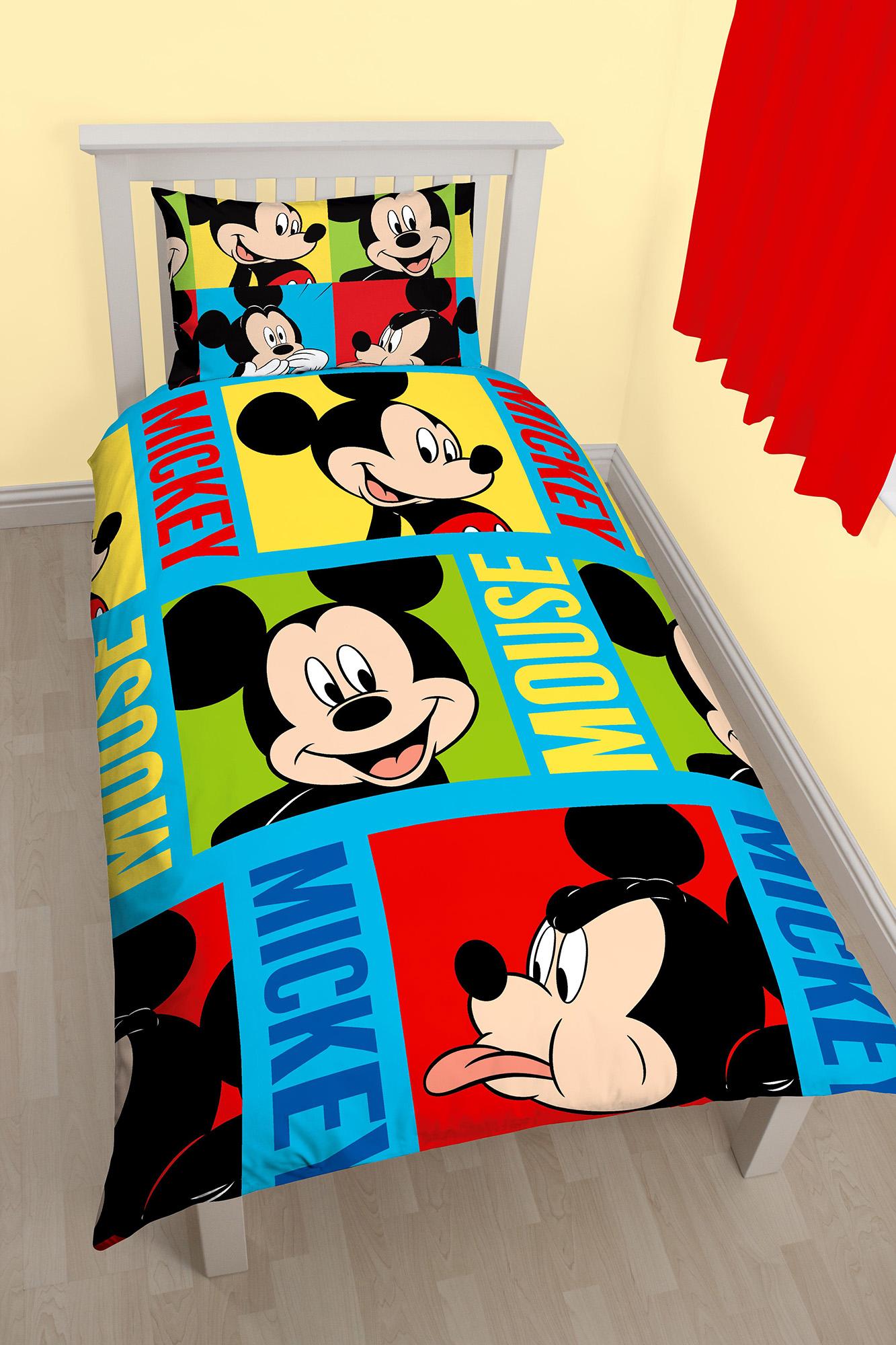 neue disney mickey maus hell einzeln bettw scheset jungen schlafzimmer ebay. Black Bedroom Furniture Sets. Home Design Ideas
