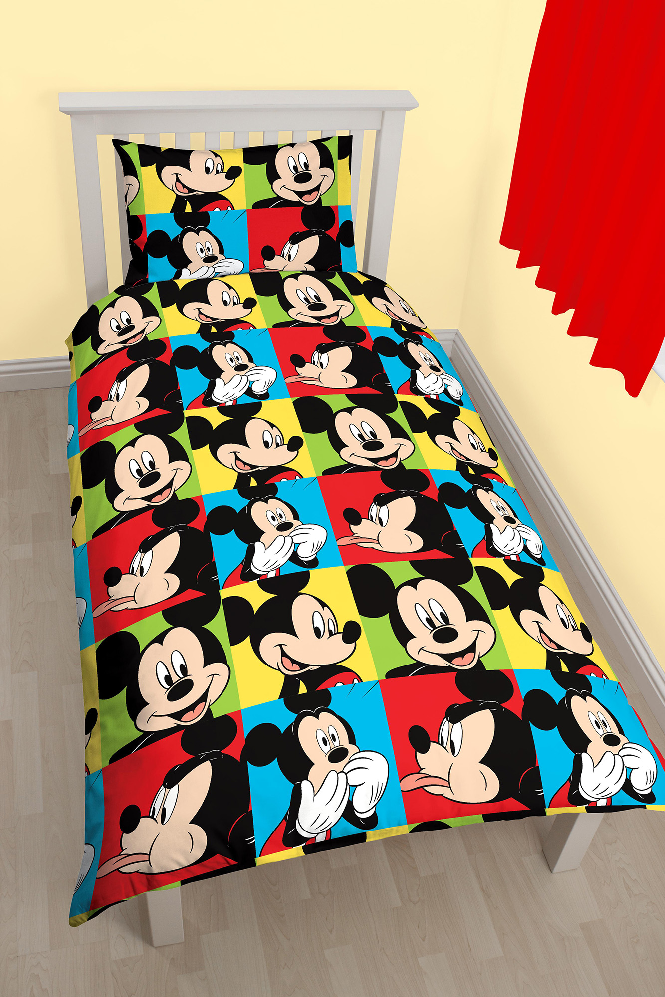 New Disney Mickey Mouse Bright Single Duvet Quilt Cover