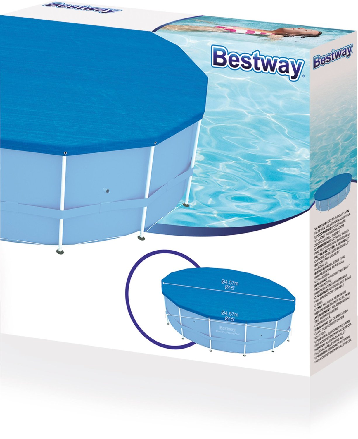 bestway pool abdeckung sch tzer f r stahlrahmen schwimmbad 4 5m passungen. Black Bedroom Furniture Sets. Home Design Ideas