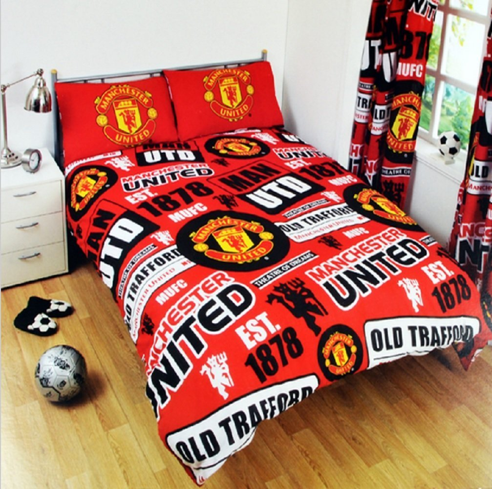 New manchester united double football duvet quilt cover for Man u bedroom ideas