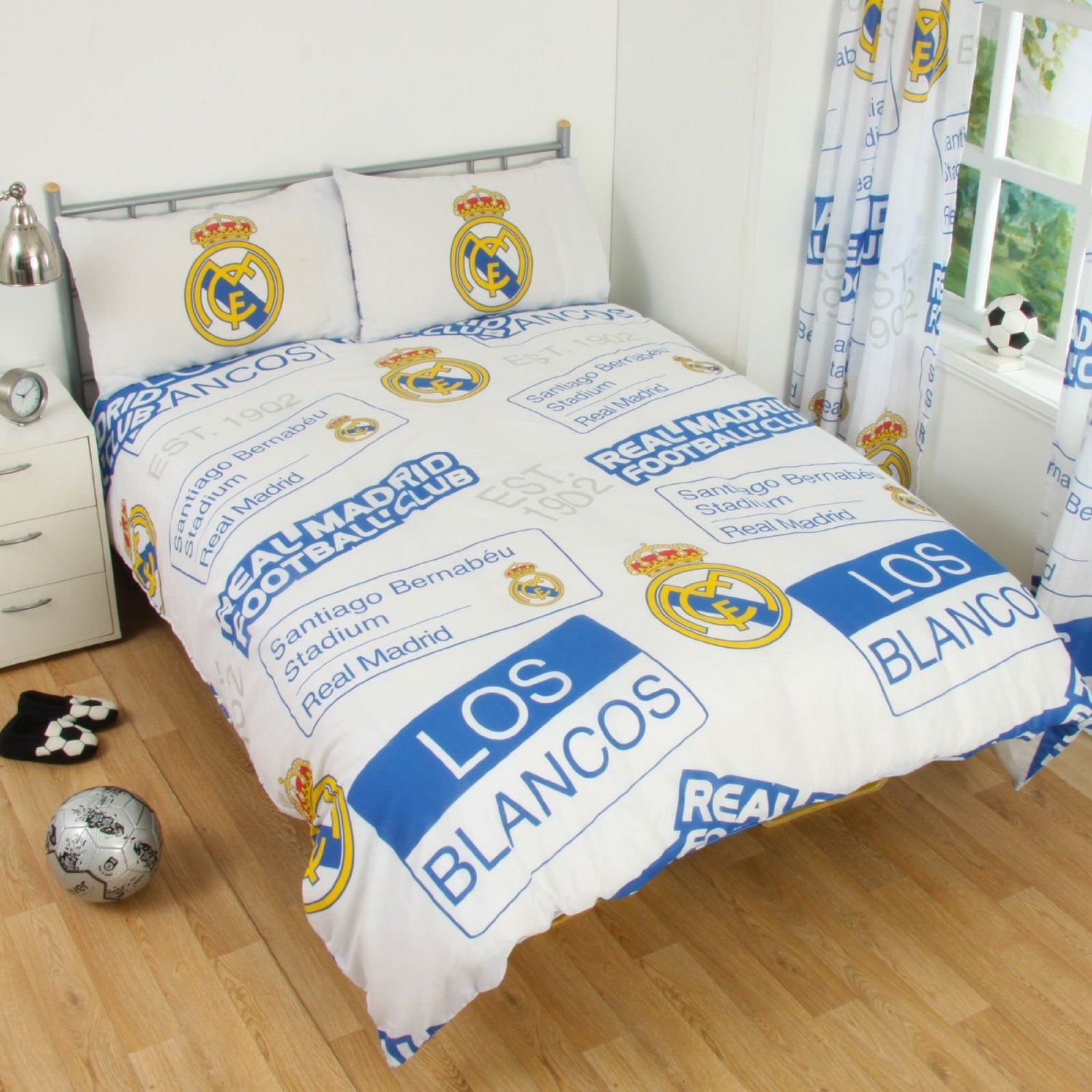 Cotton blend new football club double duvet quilt cover for Decoration chambre real madrid