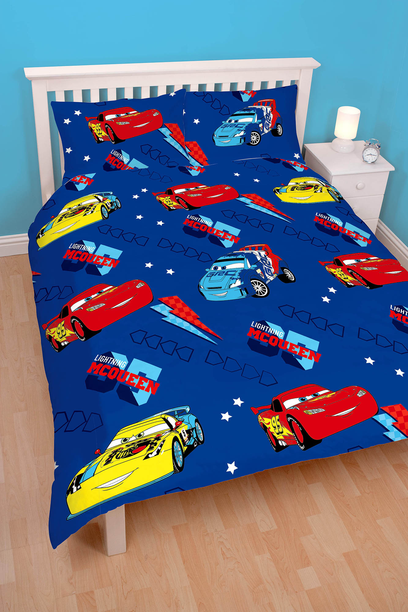 disney cars 39 kolben 39 doppel bettdecke bettbezug set jungen kinder blau ebay. Black Bedroom Furniture Sets. Home Design Ideas