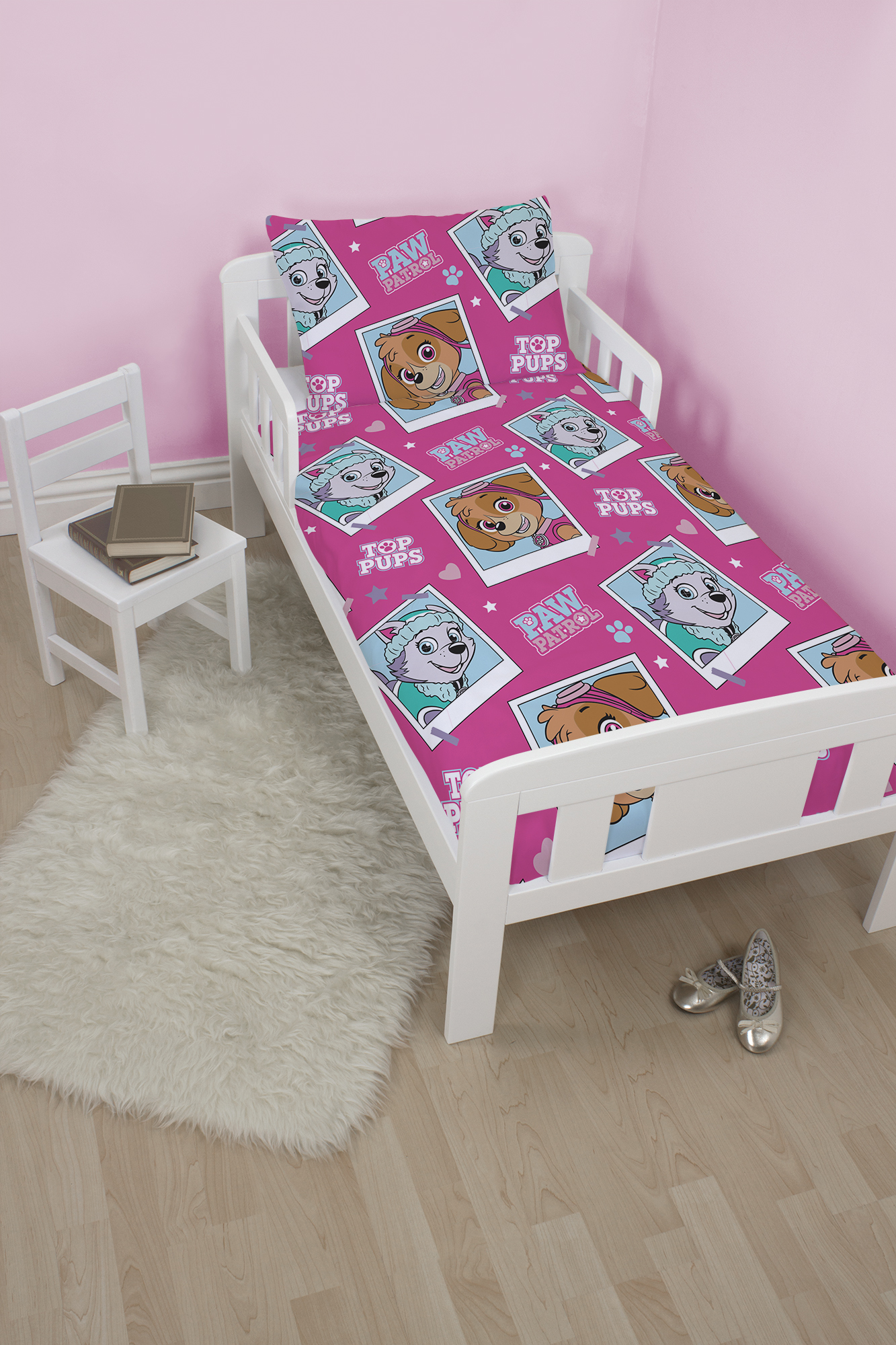 Paw Patrol Stars Junior Toddler Cot Bed Size Girls Pink Duvet Quilt