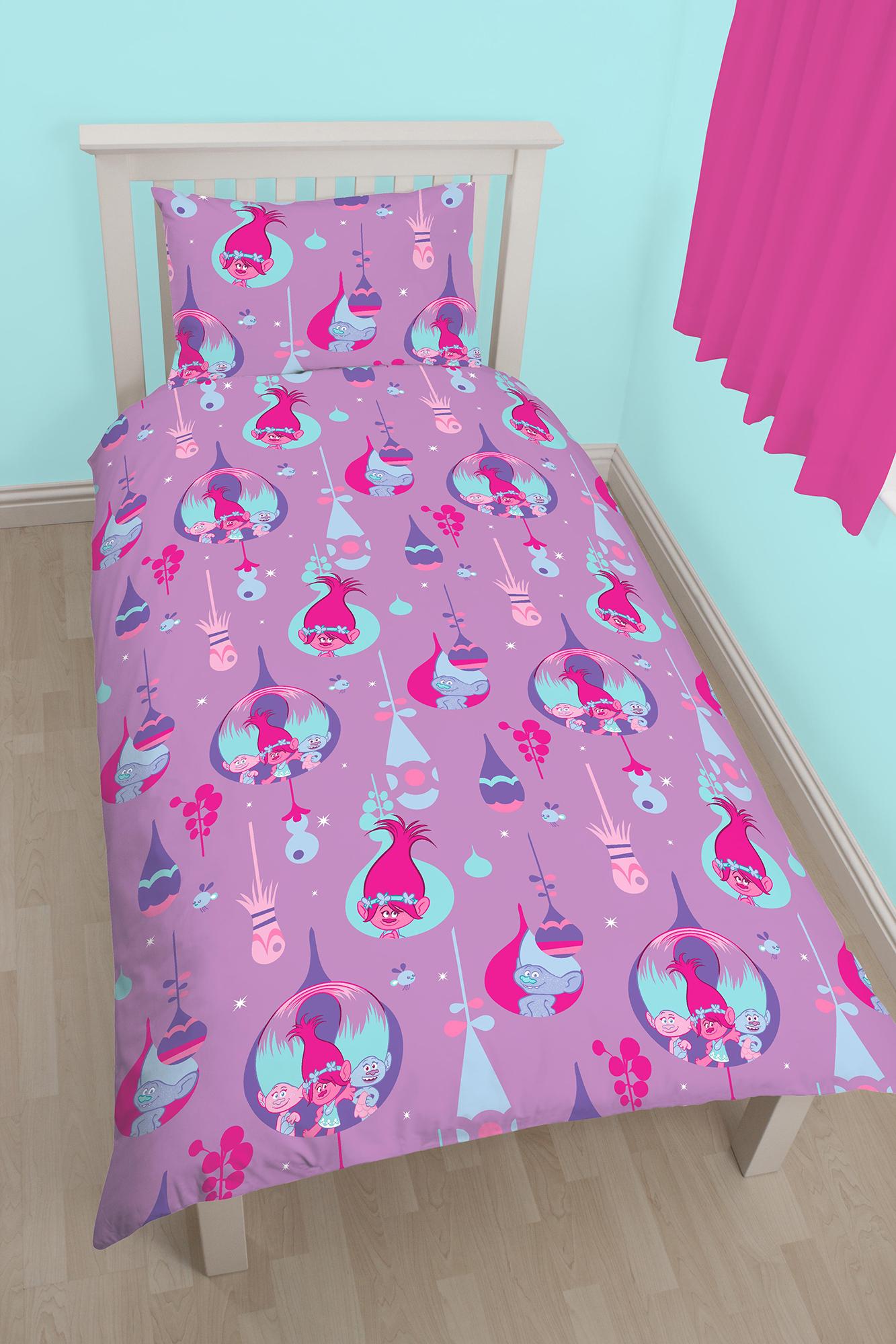 new dreamworks trolls glow single duvet quilt cover set