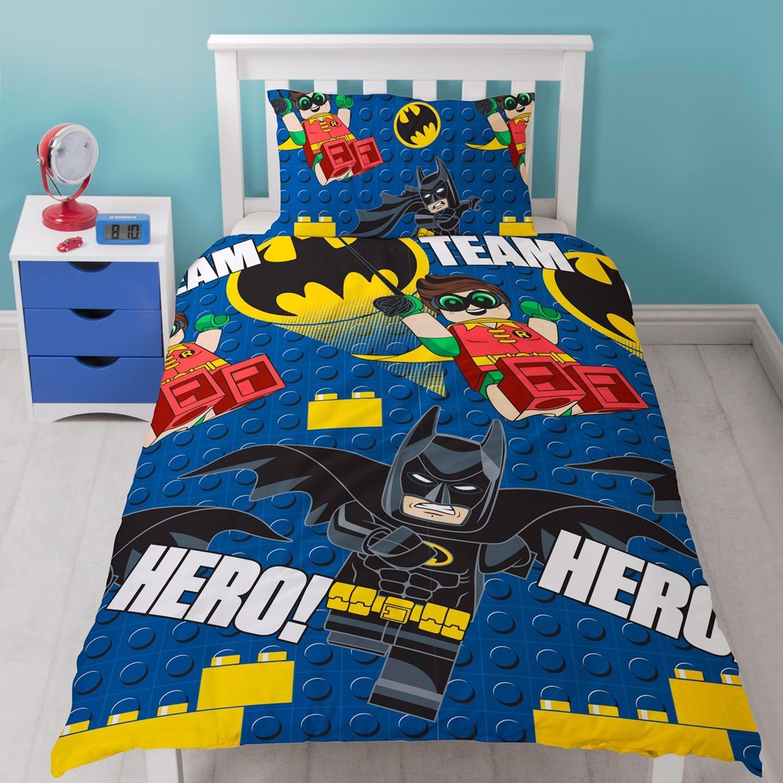 NEW LEGO BATMAN HERO SINGLE DUVET QUILT COVER SET BOYS KIDS CHILDRENS BEDROOM