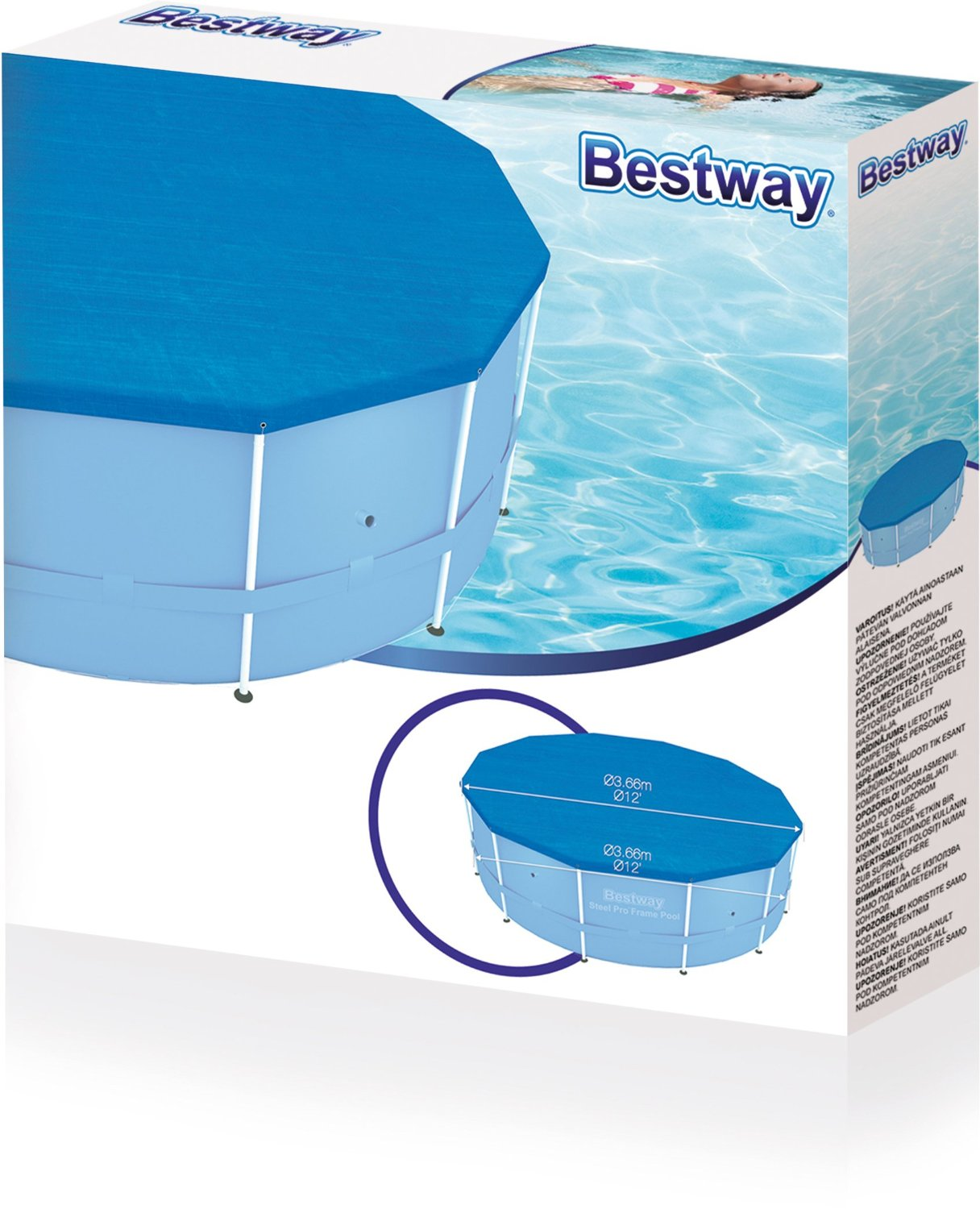 New bestway 10ft steel frame swimming paddling pool protector cover 10 foot ebay for 10ft swimming pool with pump and cover