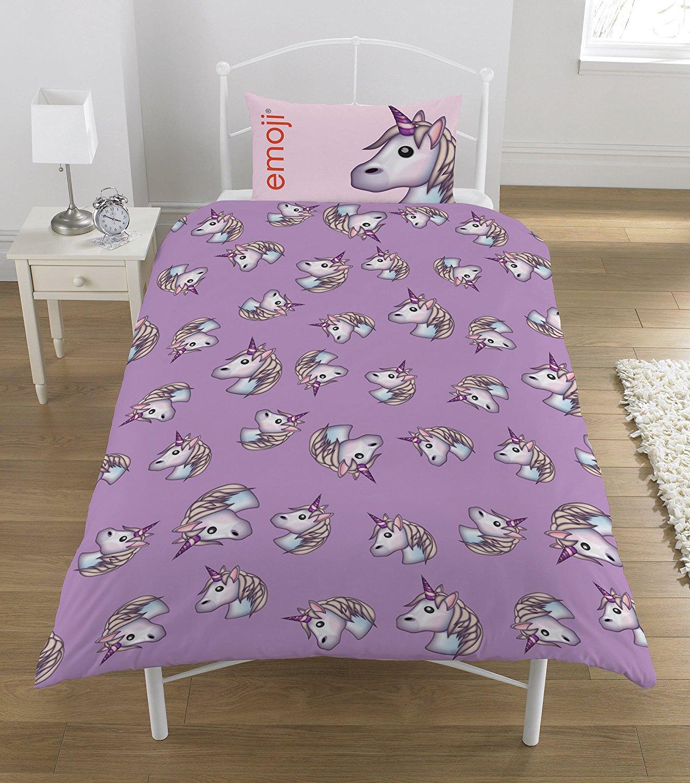 neuf emoji licorne design ensemble housse de couette filles enfants rose violet ebay. Black Bedroom Furniture Sets. Home Design Ideas