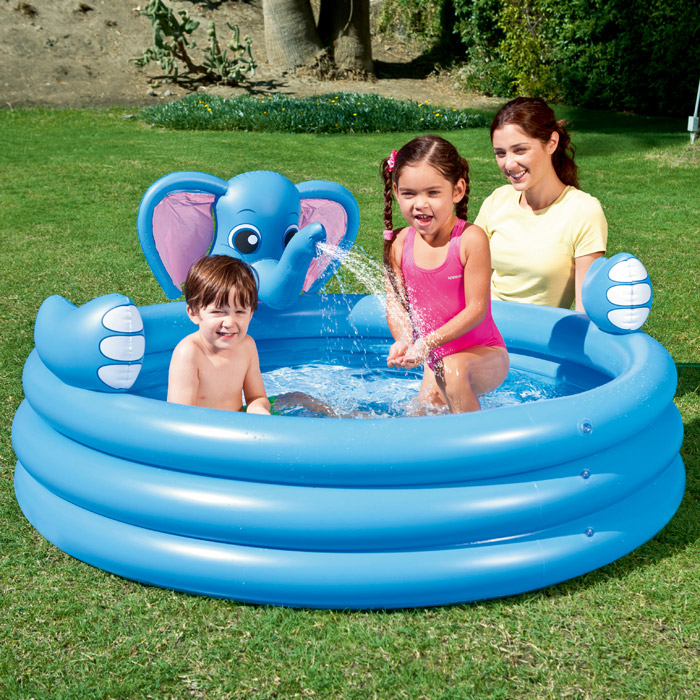 Large new bestway elephant water spray kids childrens for Best children s paddling pool