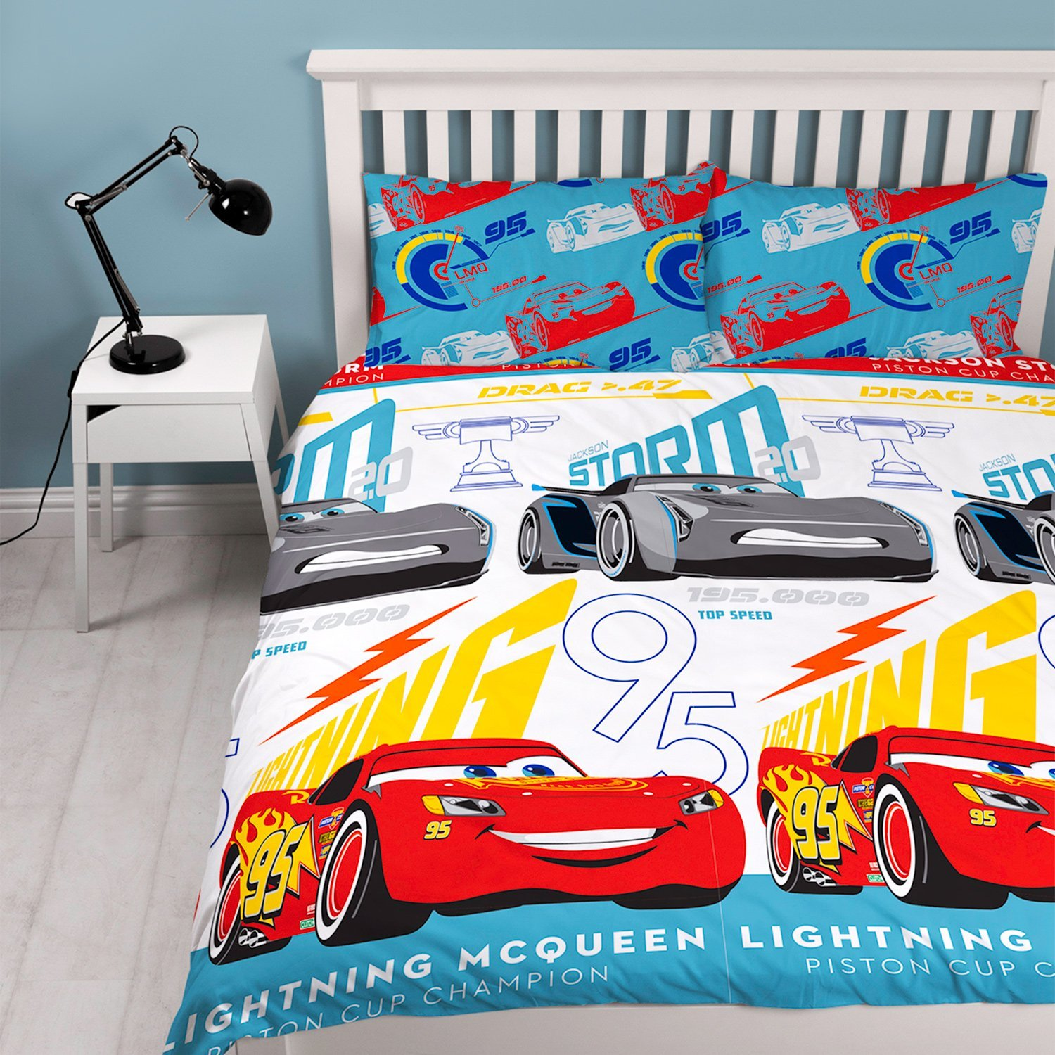 new disney cars movie 3 double duvet quilt cover set boys kids white